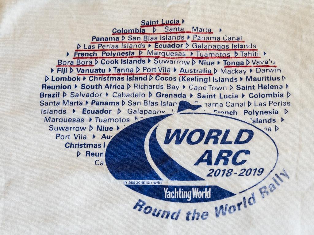 Dette er en aldri så liten liste over steder hvor vi har vært i Stillehavet, trykket på t-skjorte